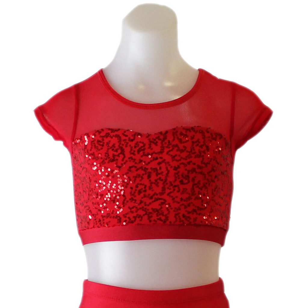 Studio 7 Attitude Sequin Crop Top - Red