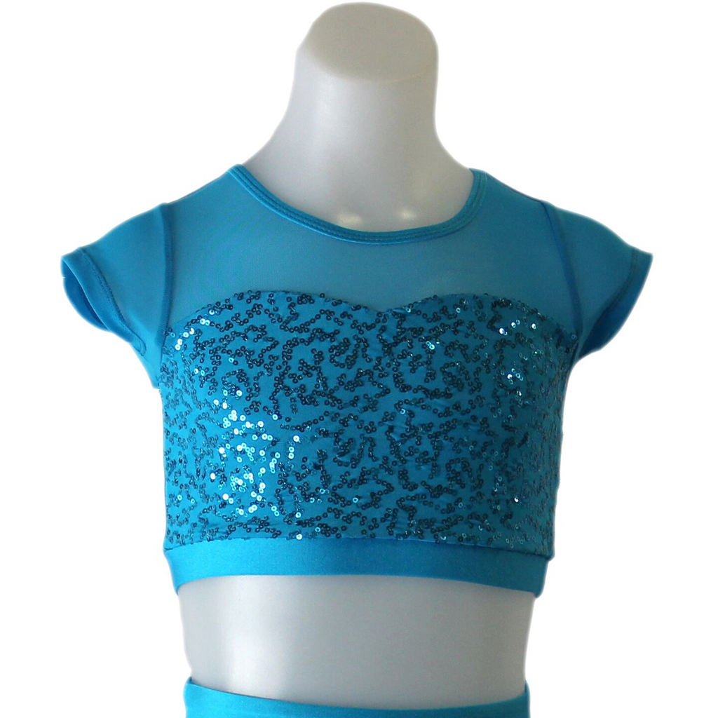 Studio 7 Attitude Sequin Crop Top - Turquoise