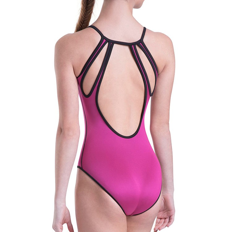 Bloch Cailey Adult's Reversible Keyhole Back Leotard - Rose/Black