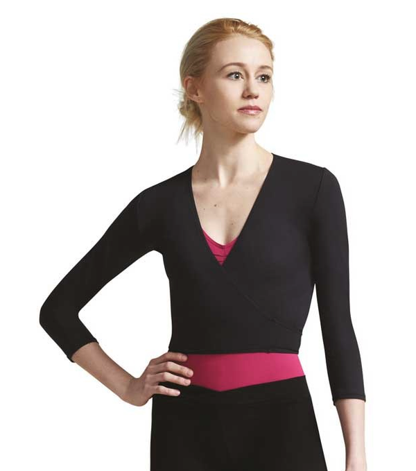 Capezio Adult's Tactel Wrap Top - Black