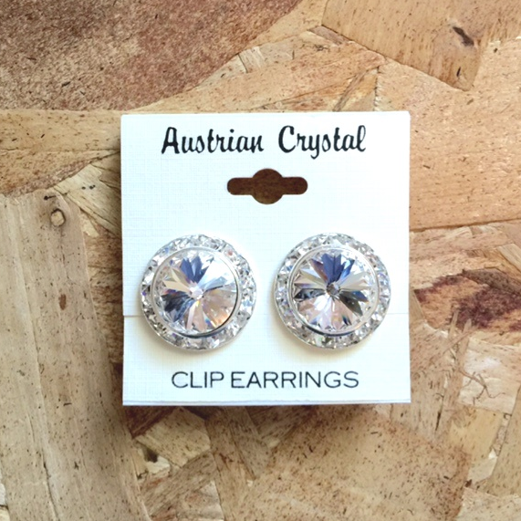 Austrian Crystal Clip On Earrings - CLEAR