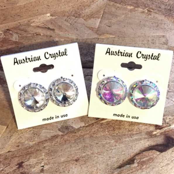 Austrian Crystal Clip On Earrings - AB