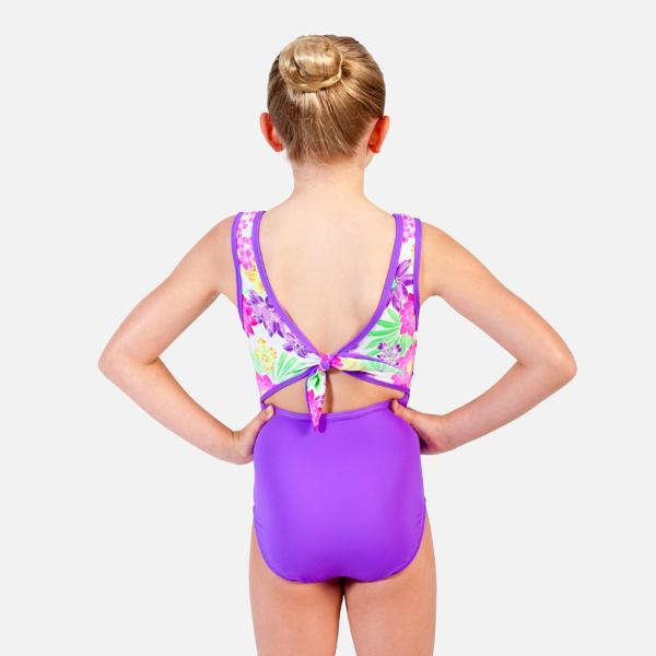 Ditto Dancewear Floral Fantasea Tie Back Swimsuit - Purple