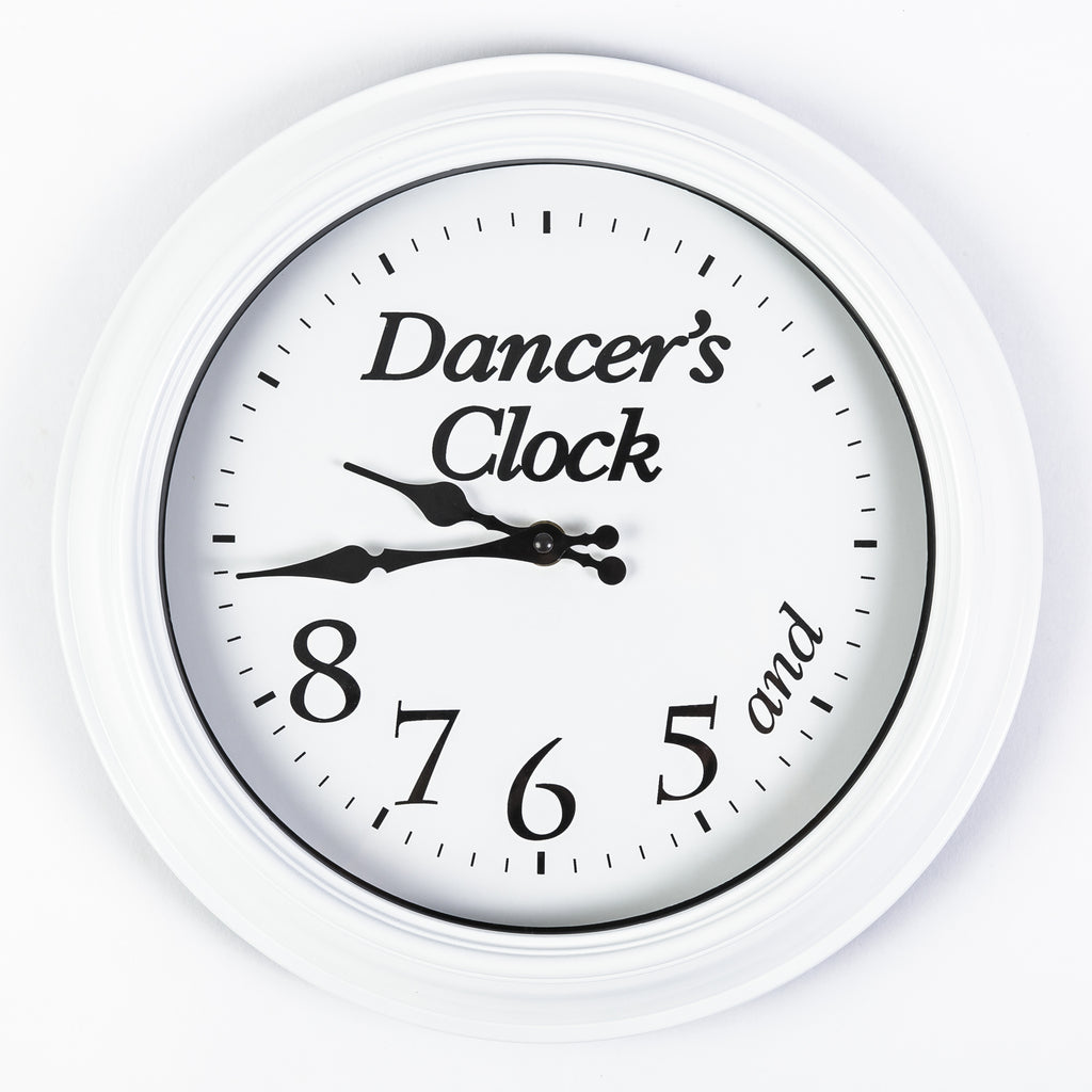 5, 6, 7, 8 Dancer's Clock - White