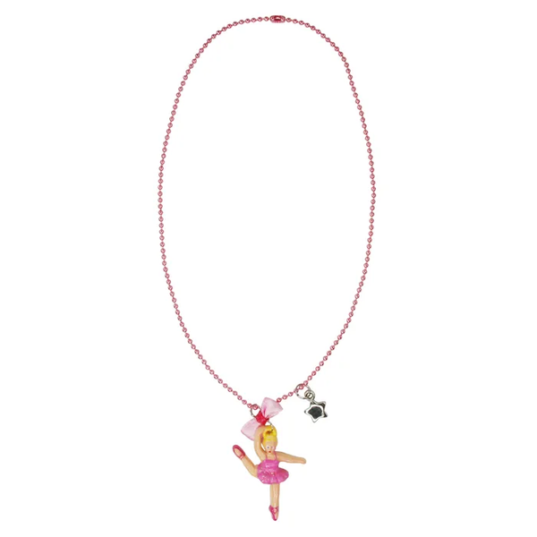 Pink Poppy Dancing Ballerina Ball Chain Necklace
