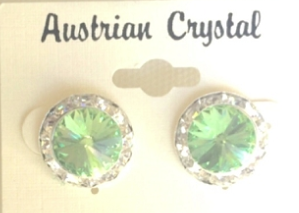Austrian Crystal Stud Earrings - Green