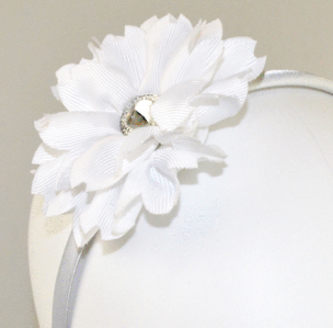 Flower Jewel Headband - White