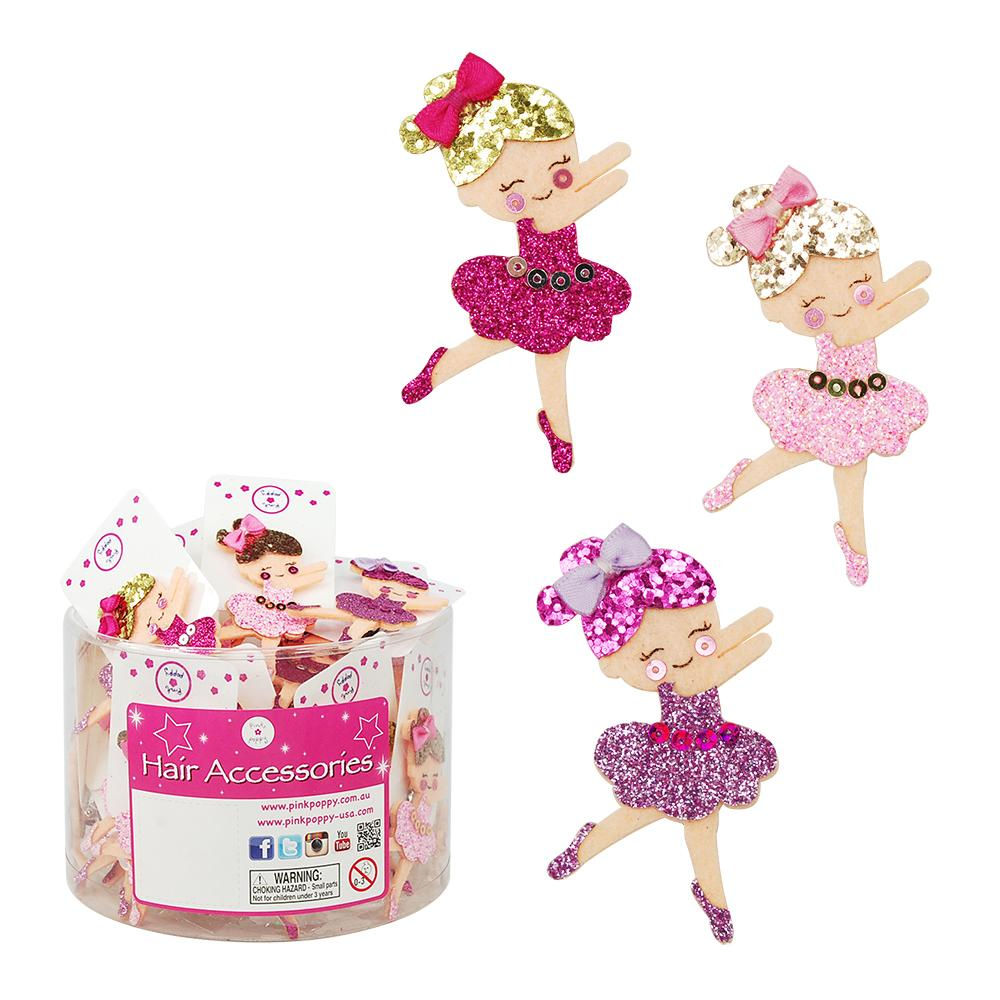 Pink Poppy Glitter Ballerina Hairclips - 3 Colours Available