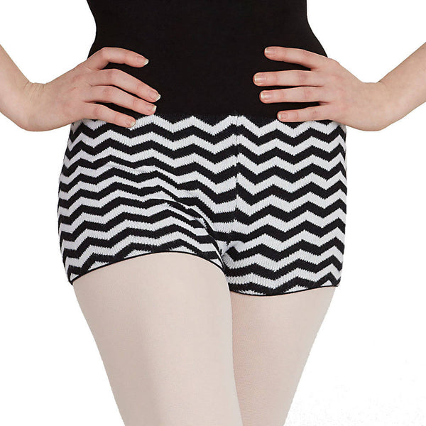 Capezio Hipster Knit Shorts - Black & White Zigzag