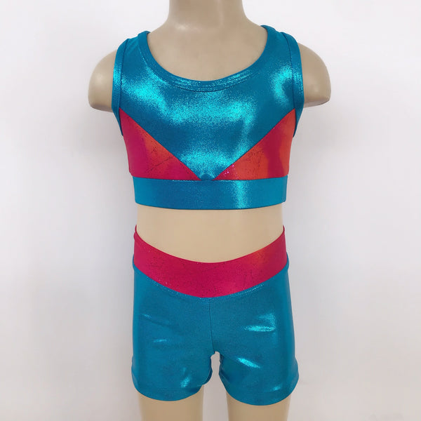 Ditto Dancewear Gymnastics Set w/Scrunchie - Ombre