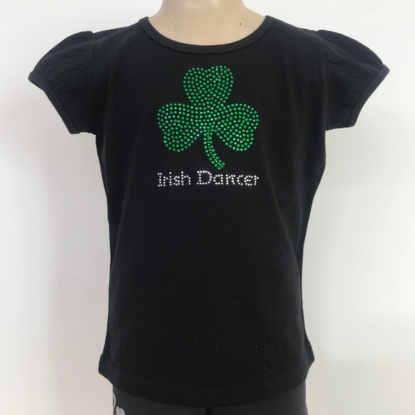 Ditto Dancewear Children's Diamante Irish Dancer T-Shirt w/Clover