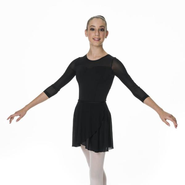 Studio 7 Adult's Michaela 3/4 Sleeve Leotard - Black