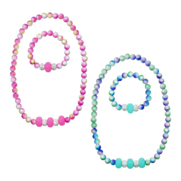 Pink Poppy Ombre Sparkle Necklace & Bracelet Set