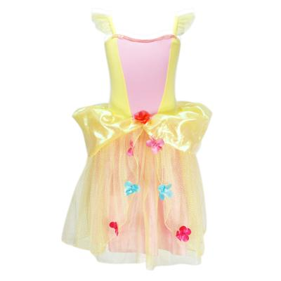Pink Poppy Flower Princess Dress - Yellow