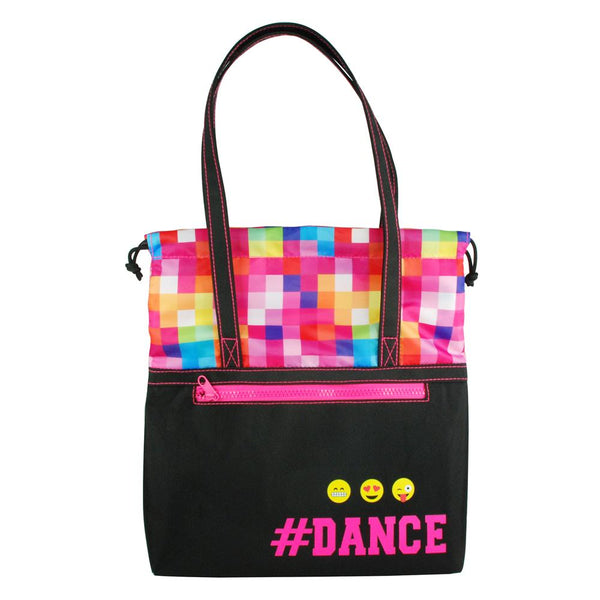Pink Poppy Pixel Dance Tote Bag - Black