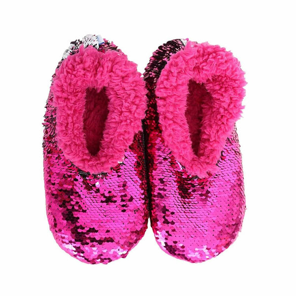 Slumbies Reversible Sequin Non-Slip Slippers/Socks - Pink