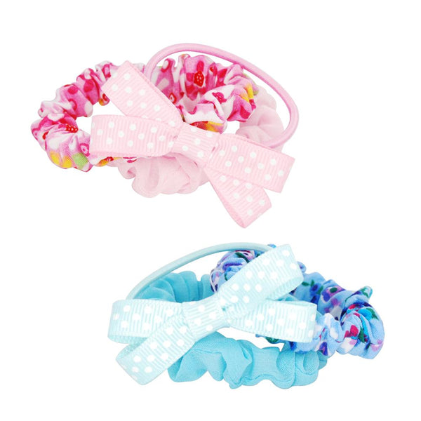 Pink Poppy - Floral fabric hair elastic set