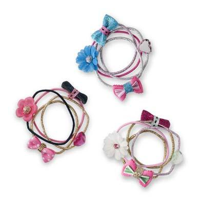 Pink Poppy Bows and Blooms Hair Elastics Set