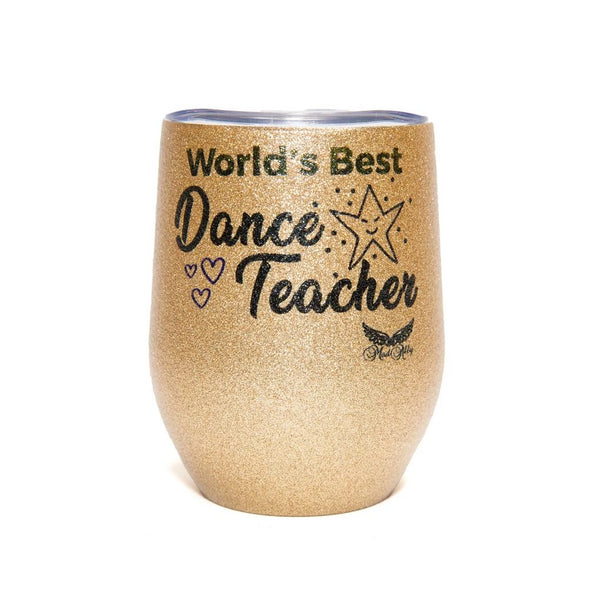 Stemless Glitter Cup Dance Teacher - Gold