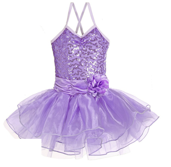 Ditto Dancewear Sparkle Tutu Dress w/Flower - Jacaranda