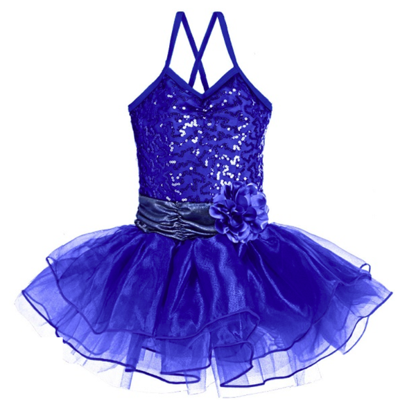 Ditto Dancewear Sparkle Tutu Dress w/Flower - Royal Blue