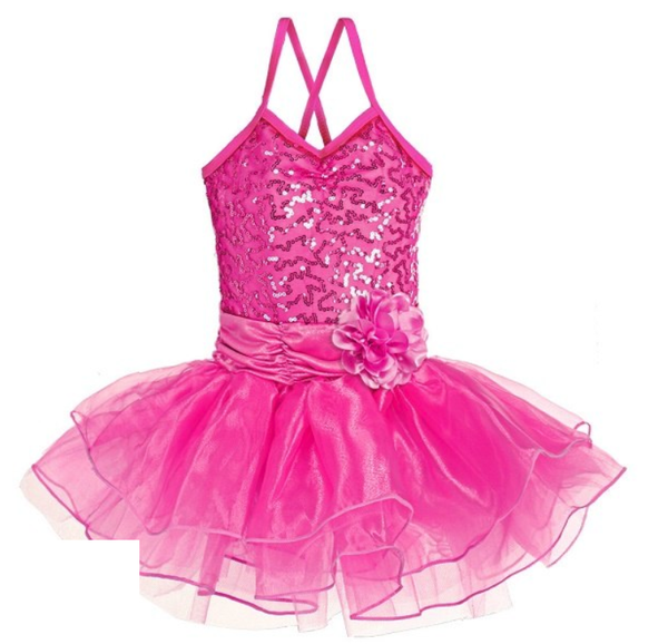Ditto Dancewear Sparkle Tutu Dress w/Flower - Hot Pink