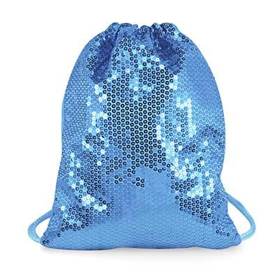 Pink Poppy Sequin Drawstring Bag - Mermaid Blue