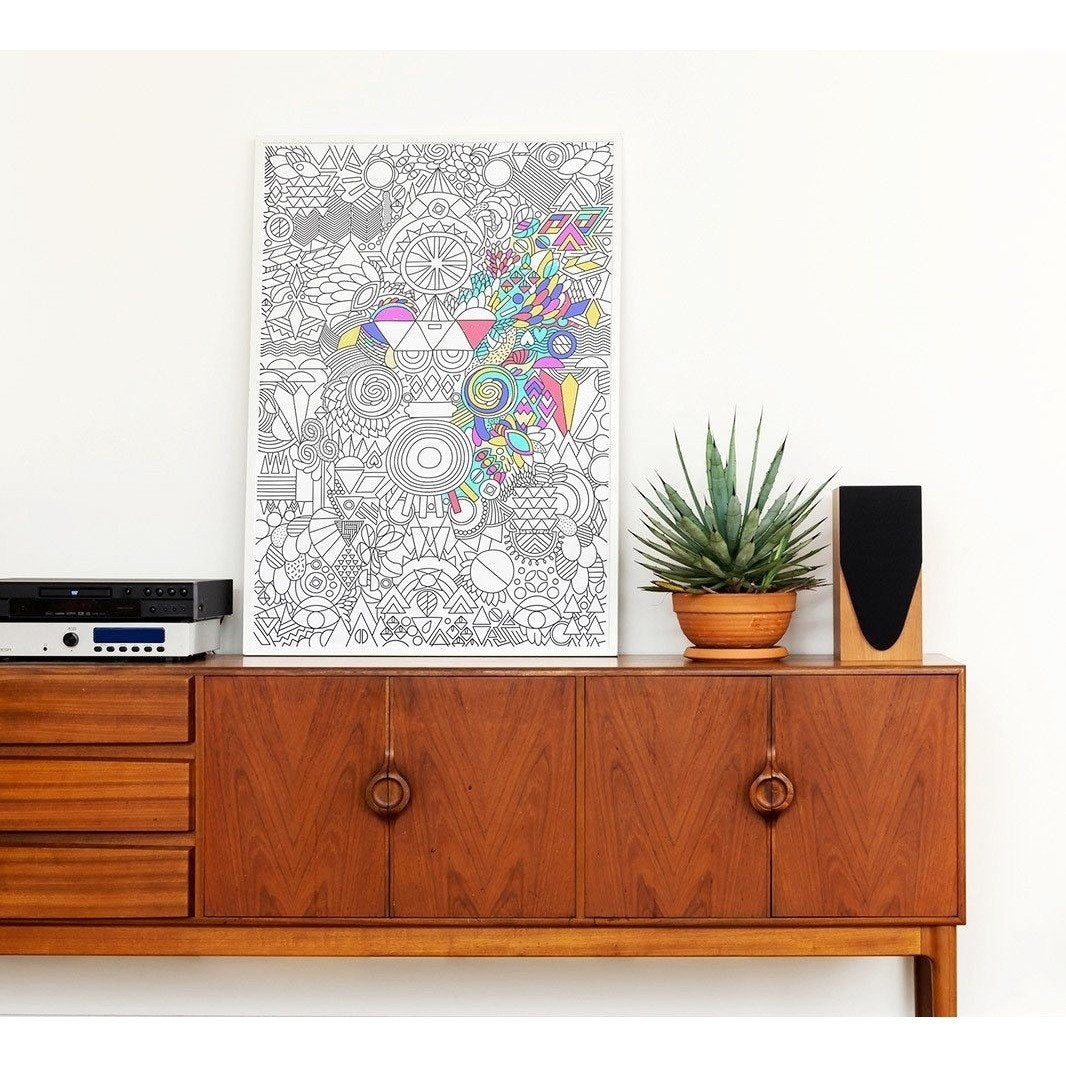 Giant Frameable Coloring Poster for Grown Ups