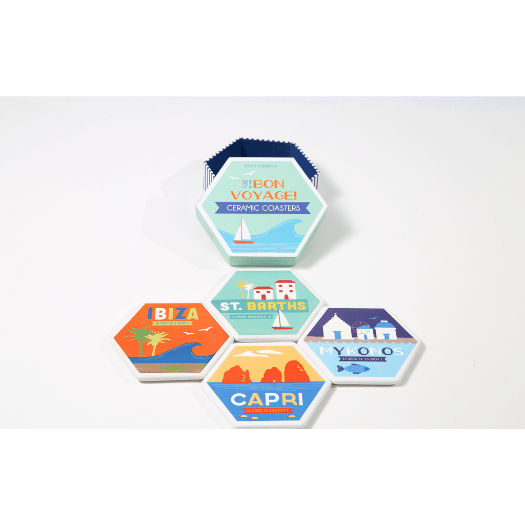 Bon Voyage! Travel Coasters - Set Of 4 Gift Box