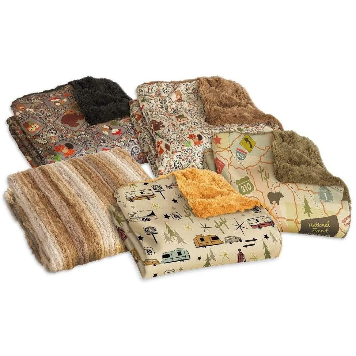 Camping Throw - Cozy Critters Grey