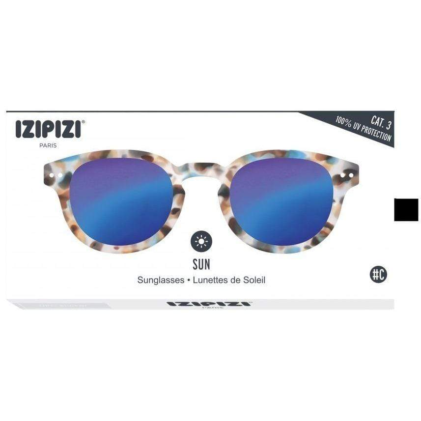 Izipizi Unisex Blue Tortoise Sunglasses Blue Mirror Lenses