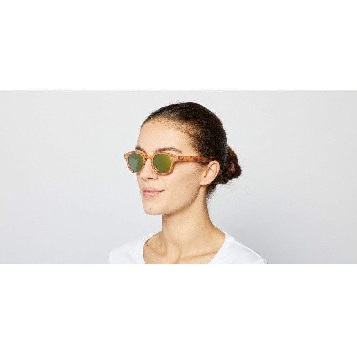 Izipizi Unisex Yellow Tortoise Sunglasses Yellow Mirror Lenses