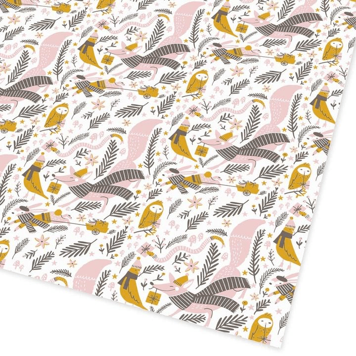 Ohh Deer Stationery Christmas Woodland Flat Giftwrap - Set of 25