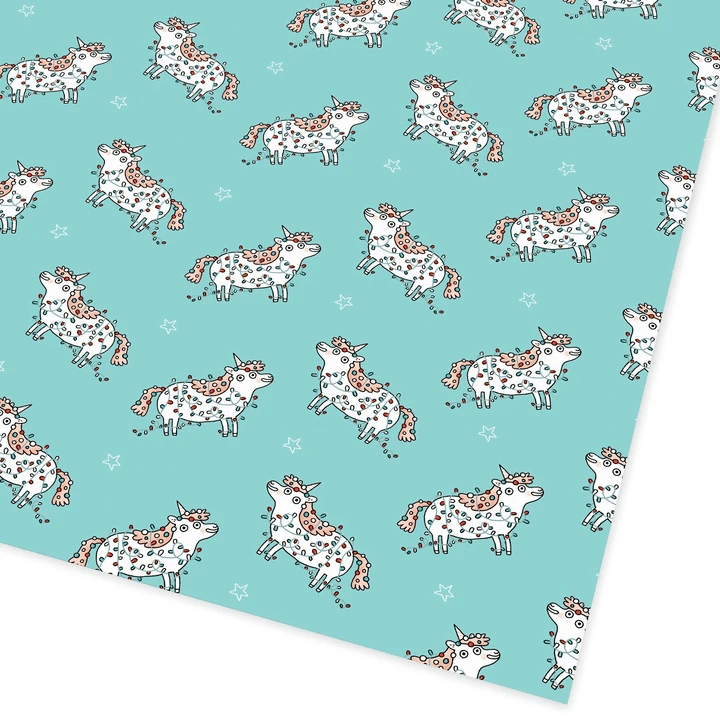 Ohh Deer Stationery Magical Christmas Unicorn Flat Giftwrap - Set of 25