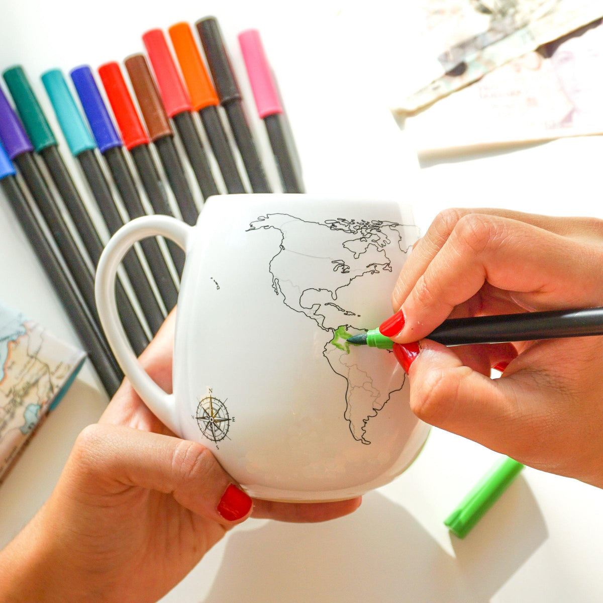 World Mug with Coloring Pen