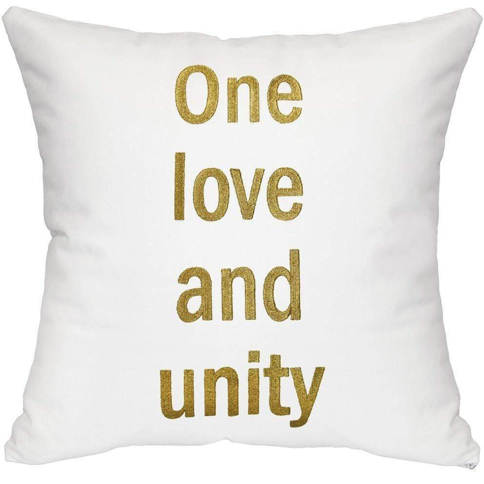 One Love and Unity Throw Pillow - White & Gold