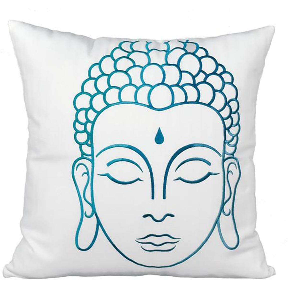 Buddha Throw Pillow - White & Teal