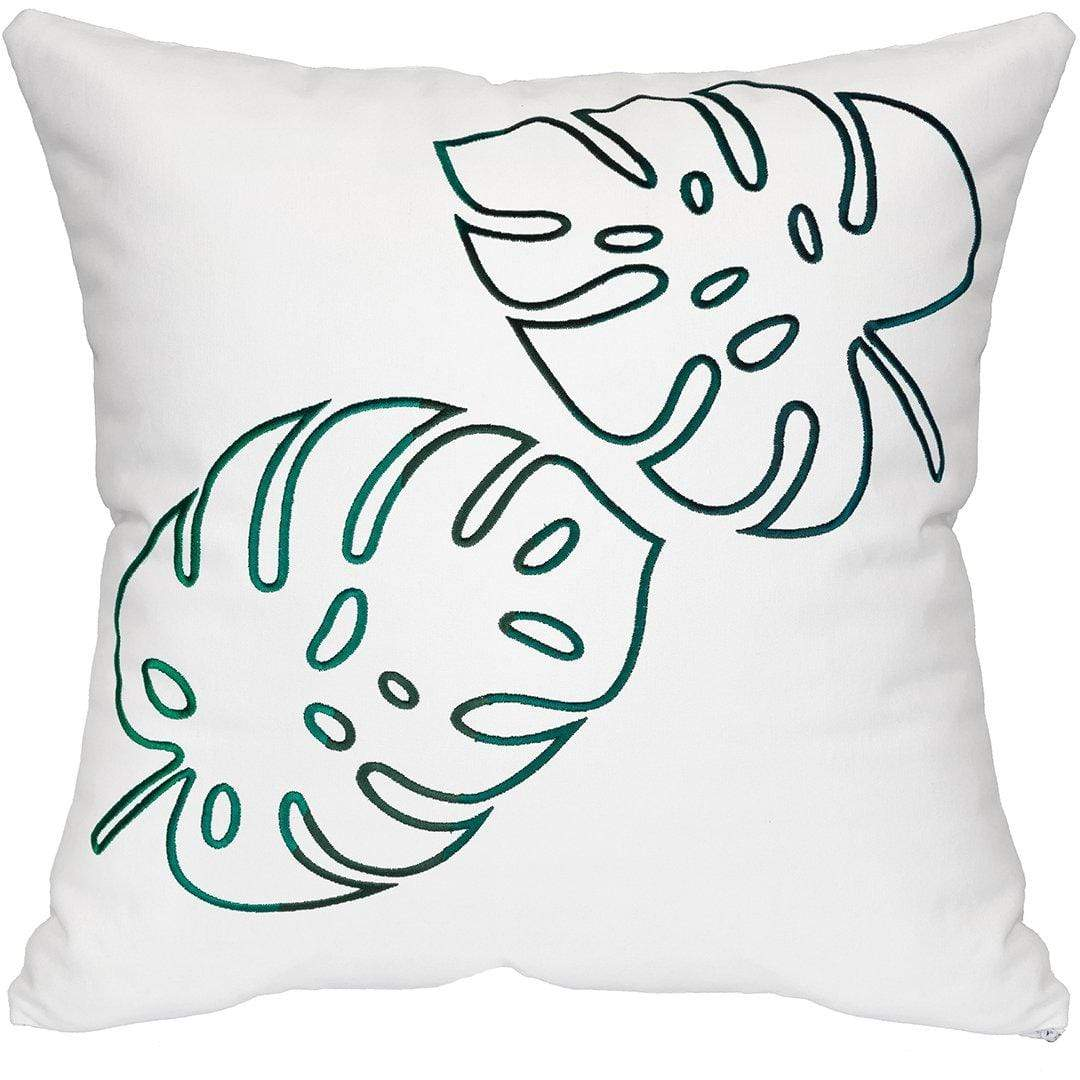Palm Leaves Throw Pillow - White & Green