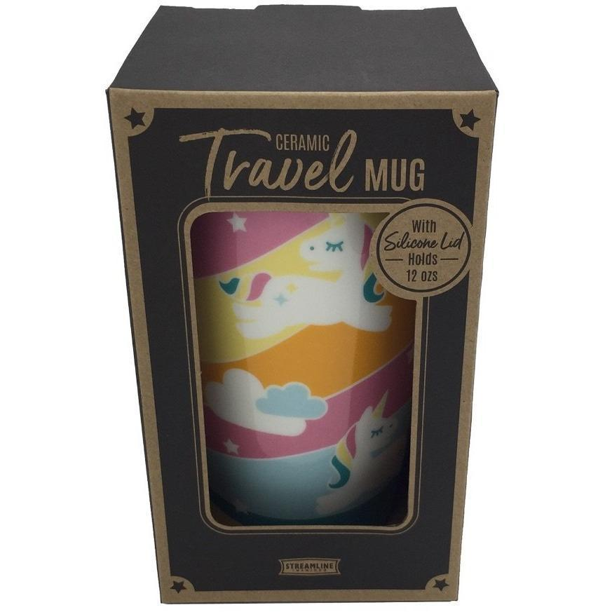 Unicorn Ceramic Travel Mug with Lid