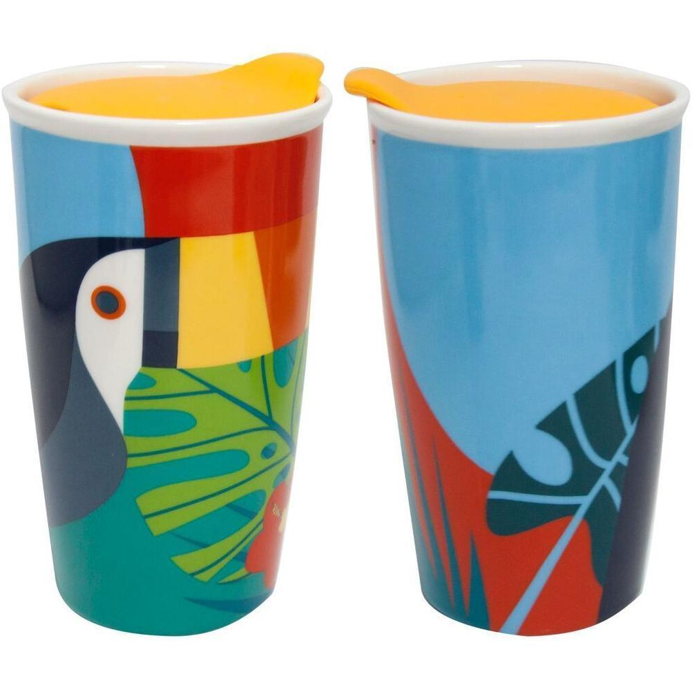 Toucan Ceramic Travel Mug with Lid
