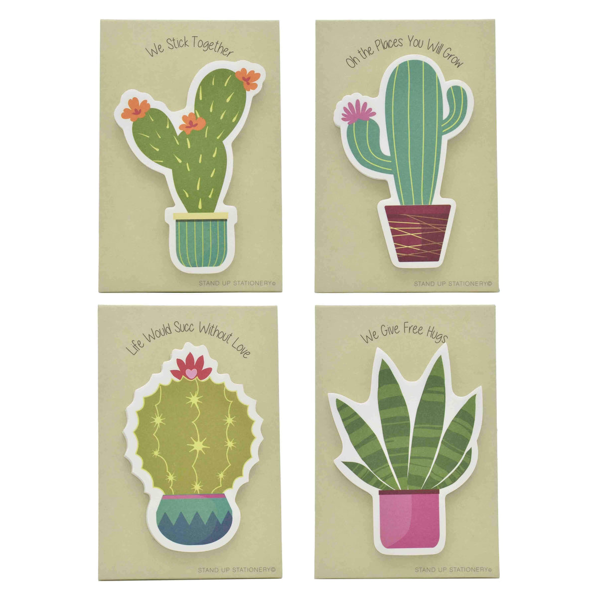 Cacti Pop-Up Sticky Notes Stand Up Stationery Set of 4