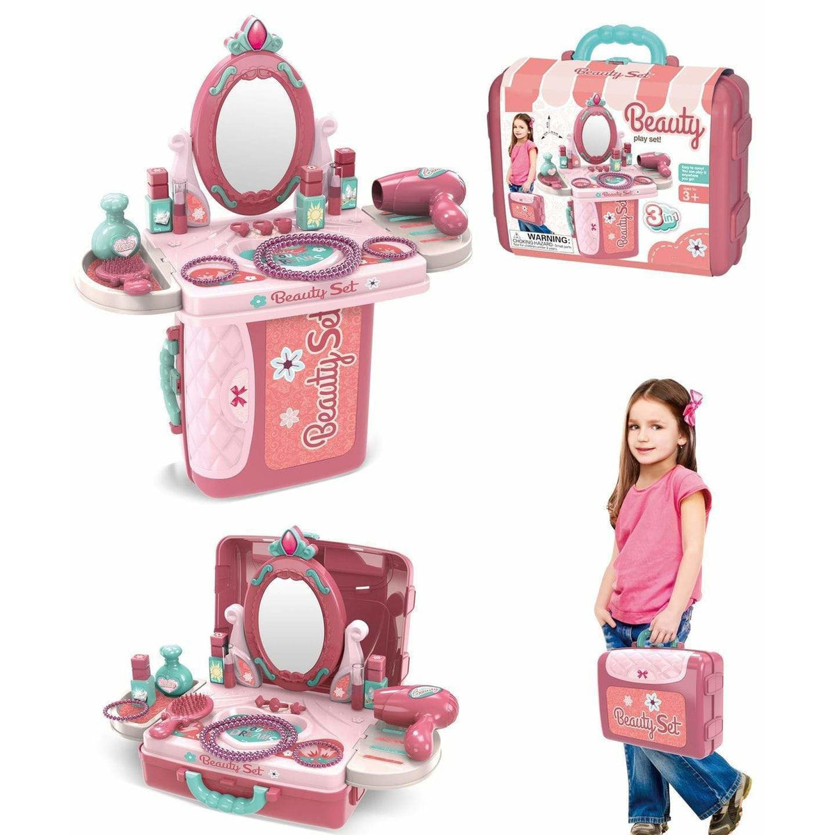 Streamline Paper Toys Beauty Vanity Playset in a Case, 22 pcs