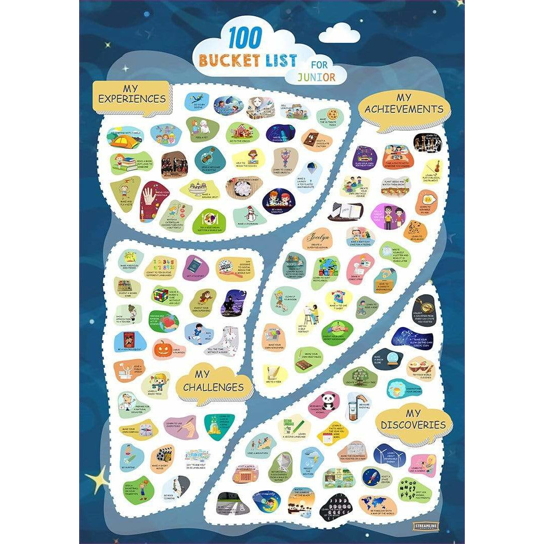 Streamline Stationery Things to Do & Find Scratch Off Poster - Youth 100 Bucket
