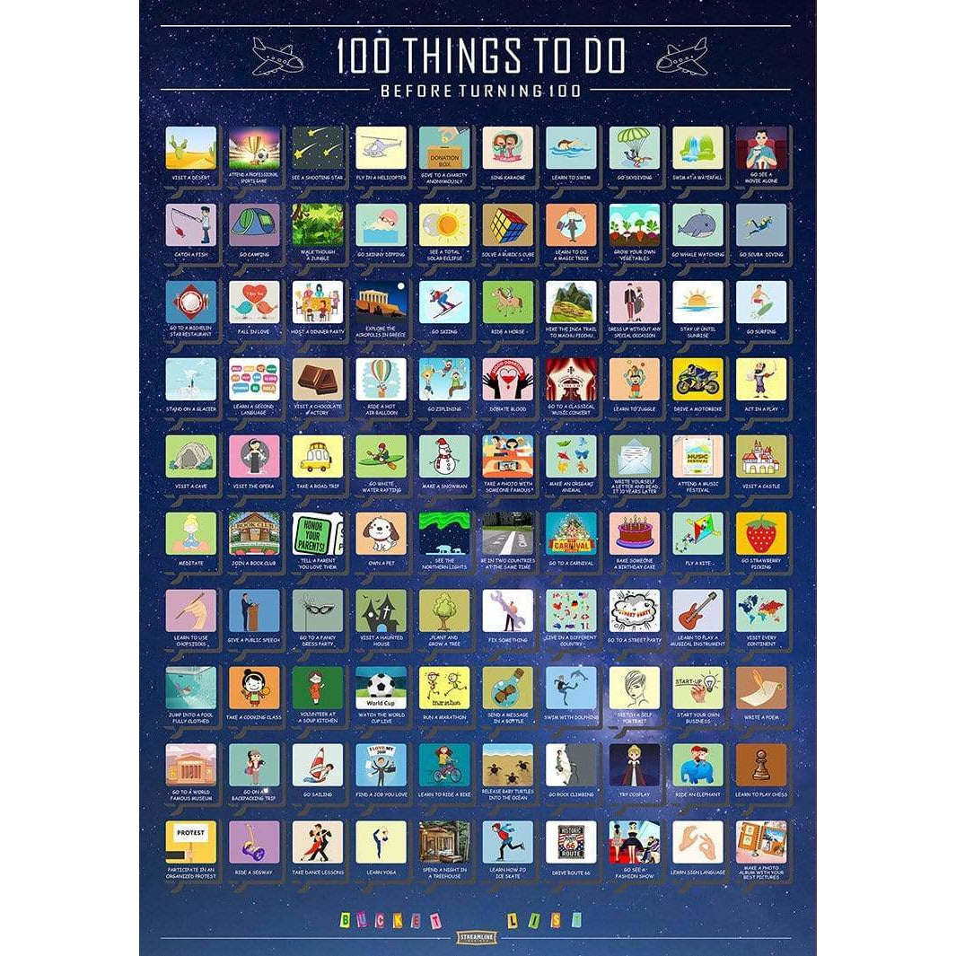 Karma Kiss Things to Do & Find Scratch Off Poster - 100 things to Do Before Turning 100