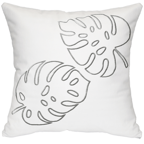 Palm Leaves Throw Pillow - White & Silver
