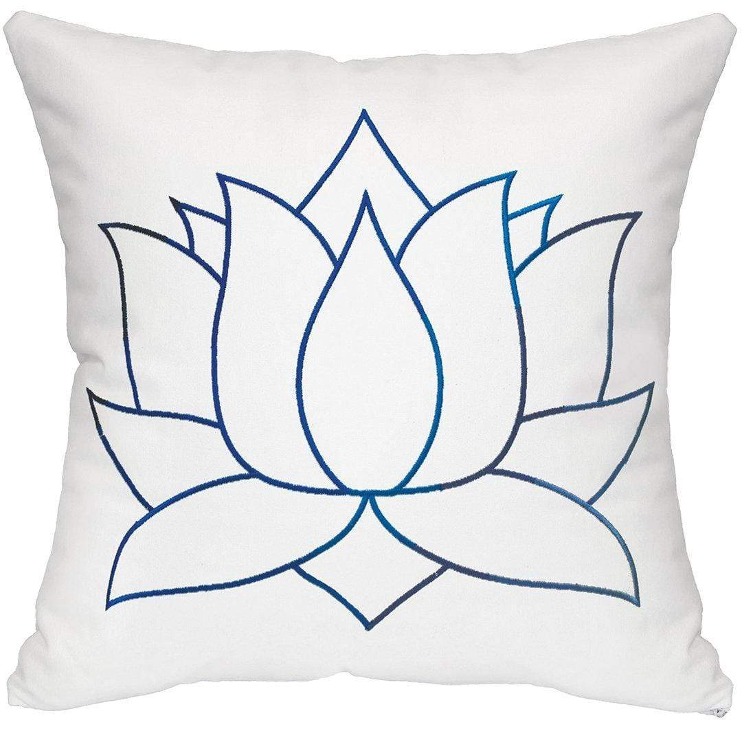 Lotus Throw Pillow - White & Blue