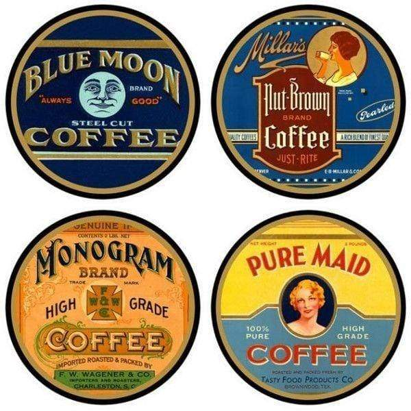 Vintage Coffee Labels - Coasters