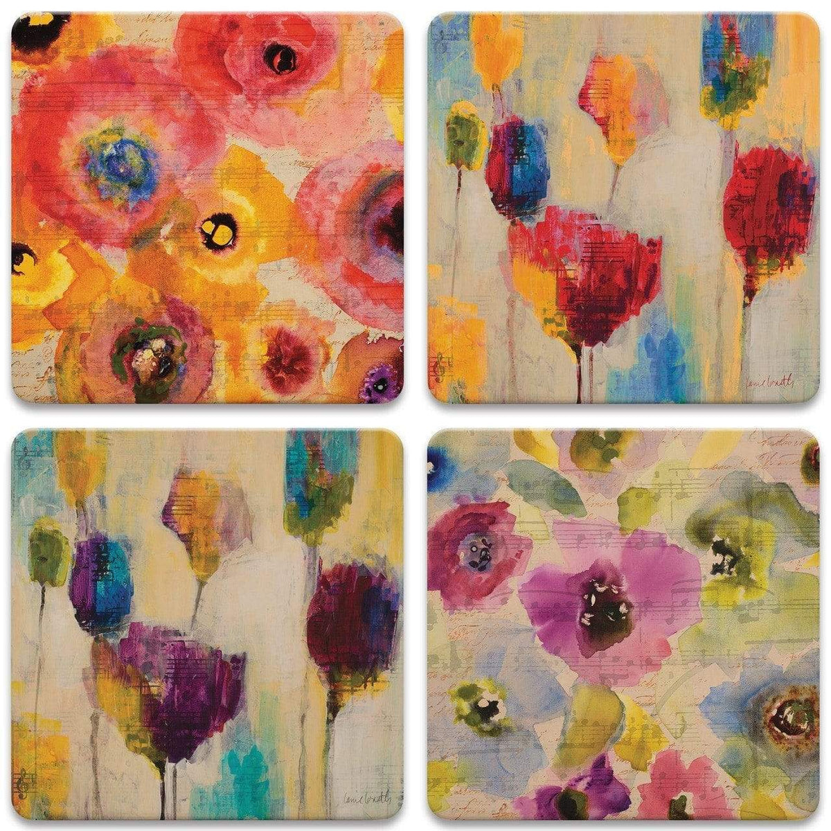 Floral Melody Stone Coasters - Set of 4