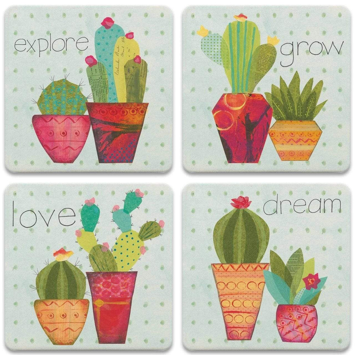 Southwest Cactus Stone Coasters - Set of 4
