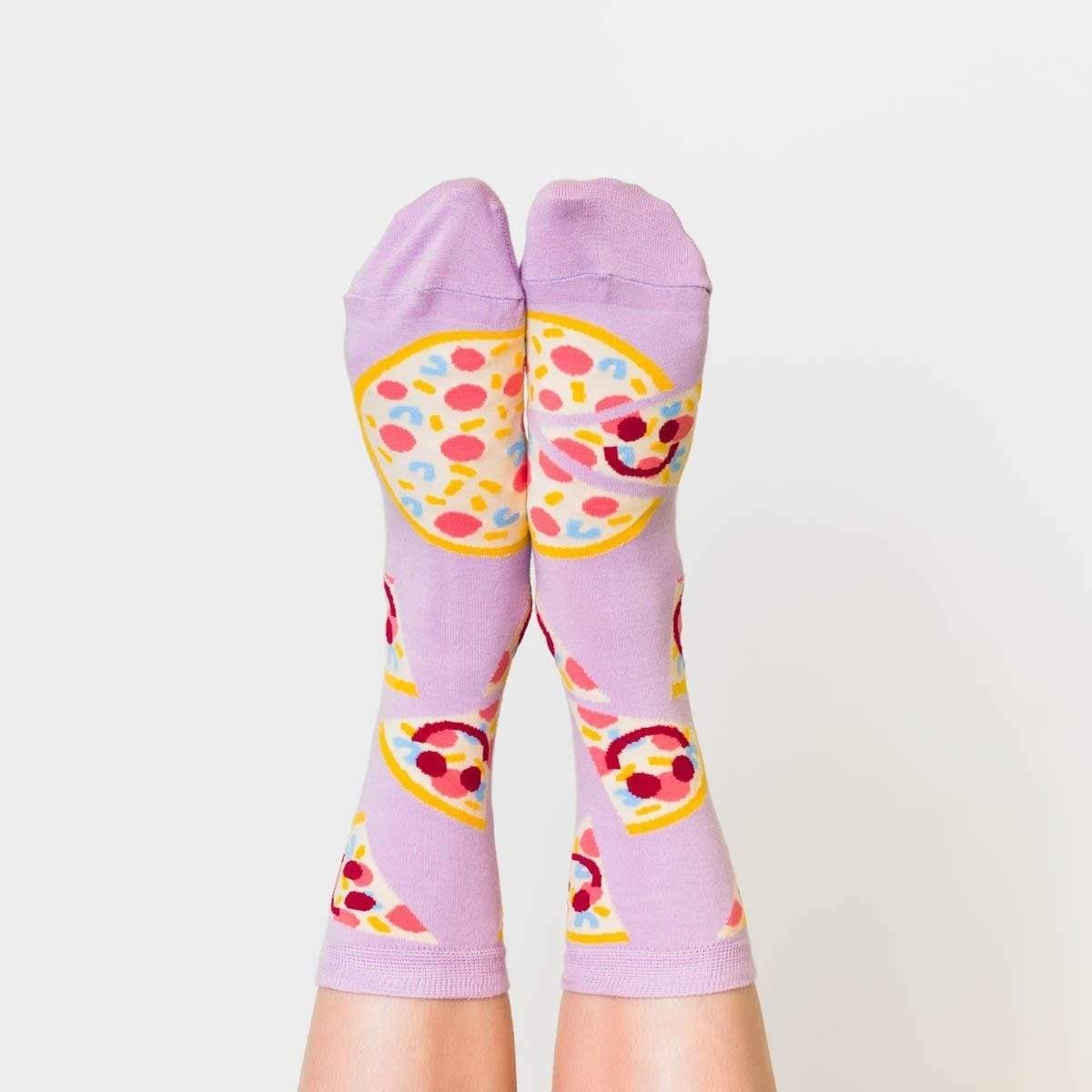Pizza Happy Face Crew Women's Socks